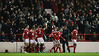 Forest celebrate scoring another Eric Lichaj goal infront of the Forest faithful  during The Emirates FA Cup Third Round match between Nottingham Forest and Arsenal at City Ground on January 7, 2018 in Nottingham, England.