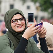 The Festival of Eid al-Fitr is about to be celebrated by Muslims across the globe at the end of Ramadan in Trafalgar Square, London, UK on June 23 2018.