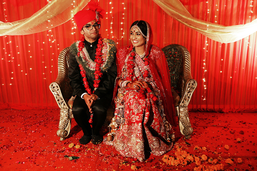 New Delhi, India, January 20, 2011. Marriage of Sumedha and Sapan. Sumedha and Sapan after they just got married.