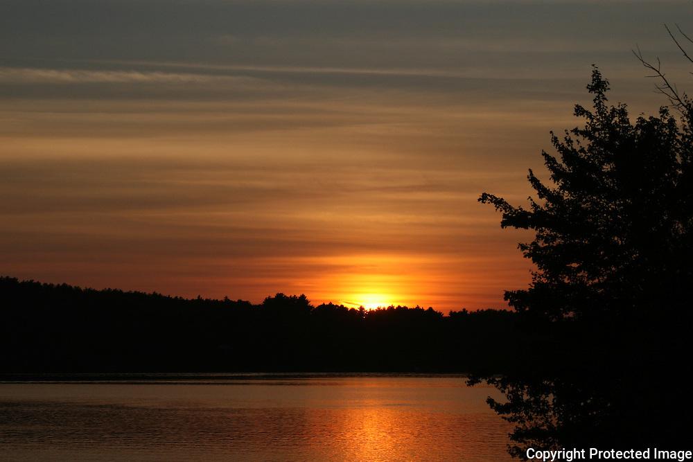 Sunset over summer lake