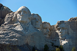 Detailed view Mt. Rushmore with sculptures of former presidents George Washington, Thomas Jefferson, Theodore Roosevelt, and Abraham Lincoln, Mount Rushmore National Monument, South Dakota, United States of America