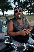 Biker smoking a cigarette, Miami, Florida, USA 2000's