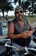 Biker smoking a cigarette, Miami, Florida, USA 2000's
