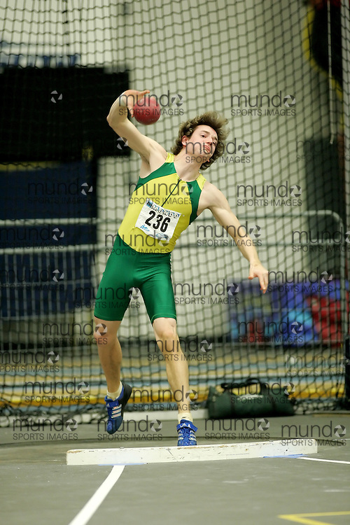 (Windsor, Ontario---11 March 2010) Leslie Andersen of University of Regina competes in the  competes in the pentathlon shot put at the 2010 Canadian Interuniversity Sport Track and Field Championships at the St. Denis Center. Photograph copyright Sean Burges/Mundo Sport Images. www.mundosportimages.com