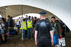 Police presence at the entrance to the Brownstock festival.
