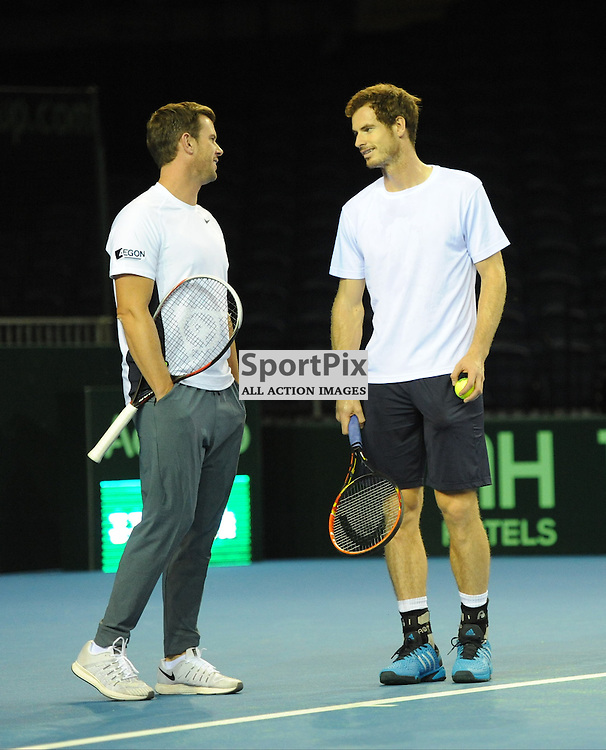 Leon Smith chats with Andy Murray as he warms up during the Great Britain v Australia, Semi Finals,  Aegeon Davis Cup by BNP Paribas, Friday 18 September 2015 (c) Angie Isac | SportPix.org.uk