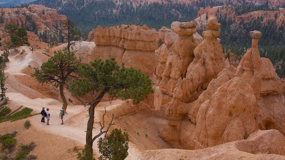 Hikers stop to chat surrounded by the stunning scenery in Bryce Canyon National Park