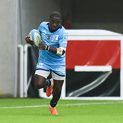 Gabriel NGANDEBE of Montpellier scores his second try  during the Top 14 match between Montpellier and Toulouse on October 19, 2019 in Montpellier, France. (Photo by Alexandre Dimou/Icon Sport) - Gabriel NGANDEBE - Altrad Stadium - Montpellier (France)