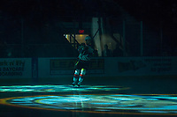 KELOWNA, CANADA - FEBRUARY 23:  Jack Cowell #8 of the Kelowna Rockets skates on the ice at the start of the game against the Seattle Thunderbirds on February 23, 2018 at Prospera Place in Kelowna, British Columbia, Canada.  (Photo by Marissa Baecker/Shoot the Breeze)  *** Local Caption ***