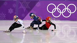 China's LI Jinyu (right) collides with Great Britain's Elise Christie as they crash out in the Short Track Speed Skating - Ladies 1,500m Semifinal 3 at the Gangneung Oval during day eight of the PyeongChang 2018 Winter Olympic Games in South Korea.