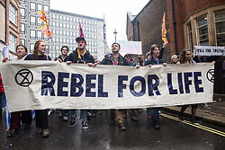 London, UK. 8 October, 2019. Climate activists from Extinction Rebellion Youth march to the Department for Education on the second day of International Rebellion protests to demand that schools teach the truth about the climate emergency.