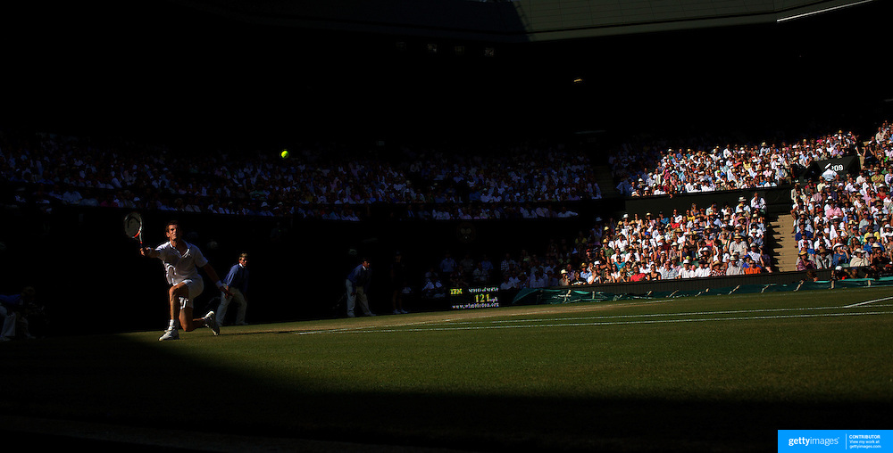 Andy Murray, Great Britain, in action against Andy Roddick, USA, during the Men's Singles Semi Final Match at the All England Lawn Tennis Championships at Wimbledon, London, England on Friday, July 03, 2009. Photo Tim Clayton.