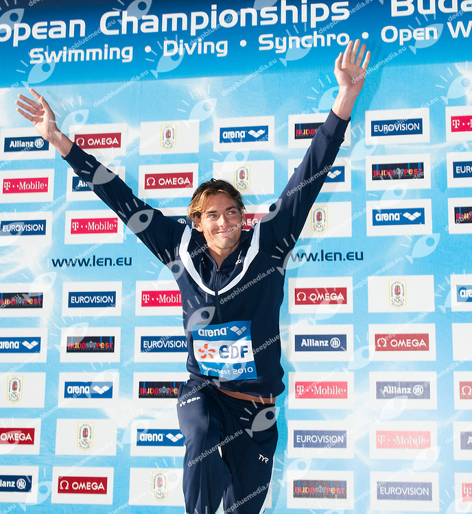 Budapest European Championships 2010.in Swimming, Diving, Synchronised Swimming, Open Water Swimming.Day 7.Swimming.100m Back Men.Gold Medal           Lacourt Camille   FRA.Silver Medal         Stravius Jeremy   FRA.Bronze Medal       Tancock Liam      GBR..photo: Deepbluemedia.eu