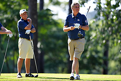 Paul Johnson tees off during the Chick-fil-A Peach Bowl Challenge at the Oconee Golf Course at Reynolds Plantation, Sunday, May 1, 2018, in Greensboro, Georgia. (Dale Zanine via Abell Images for Chick-fil-A Peach Bowl Challenge)