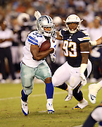 Dallas Cowboys running back Gus Johnson (37) runs the ball while being chased by San Diego Chargers defensive tackle Darius Philon (93) during the 2015 NFL preseason football game against the San Diego Chargers on Thursday, Aug. 13, 2015 in San Diego. The Chargers won the game 17-7. (©Paul Anthony Spinelli)