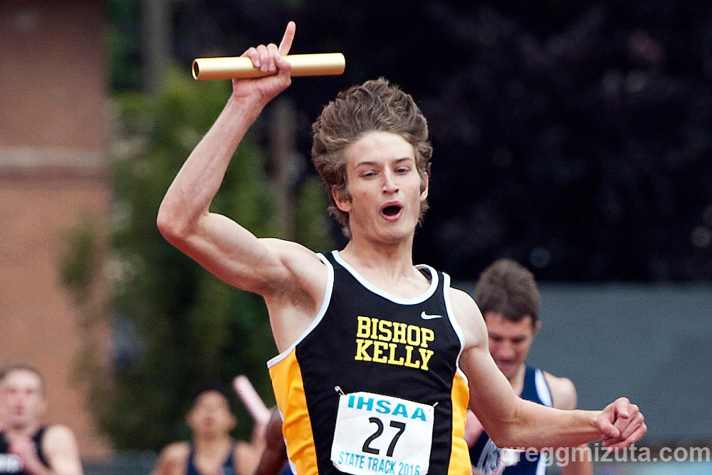 Bishop Kelly anchor Matt Dean celebrates winning the  4A 4x400 relay in the Idaho High School Track & Field State Championships at Dona Larson Park, Boise, Idaho. May 21, 2016.