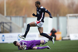 Falkirk's Taylor Morgan over Brechin City&rsquo;s keeper Graeme Smith. <br /> Falkirk 2 v 1 Brechin City, Scottish Cup fifth round game played today at The Falkirk Stadium.