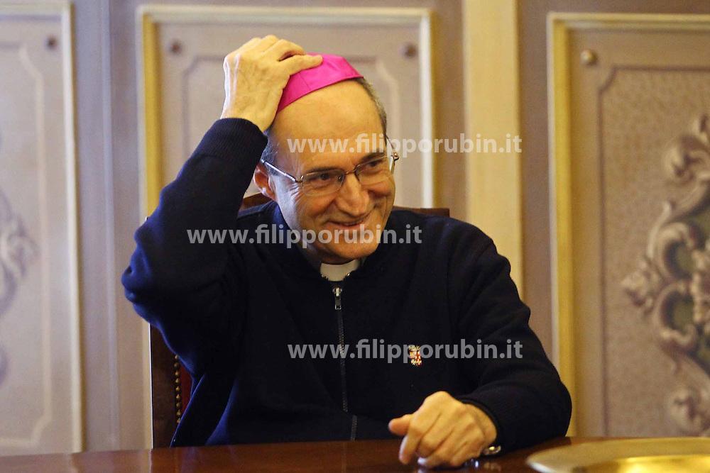 DON ANDREA TURAZZI PRETE FERRARESE NOMINATO VESCOVO DI SAN MARINO CON LA PAPALINA<br /> FERRARA 30-11-2013<br /> FOTO FILIPPO RUBIN