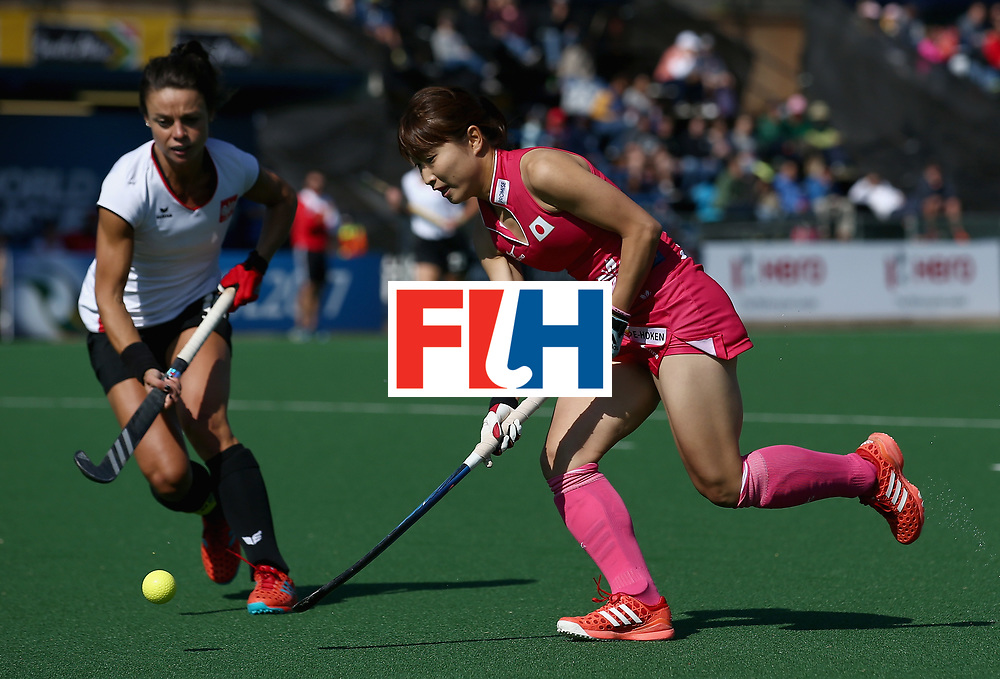 JOHANNESBURG, SOUTH AFRICA - JULY 14: Yuri Nagai of Japan and Marlena Rybacha of Poland battle for possession during day 4 of the FIH Hockey World League Semi Finals Pool B match between Poland and Japan at Wits University on July 14, 2017 in Johannesburg, South Africa. (Photo by Jan Kruger/Getty Images for FIH)