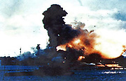 Pearl Harbour , Japanese air attack sinks the USS Arizona   1941