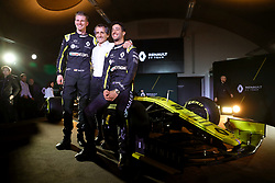 Drivers Niko Hulkenberg (left) and Daniel Ricciardo pose with retired racing driver Alain Prost during the Renault F1 Team 2019 season launch at Whiteways Technical Centre, Oxford.