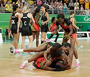 8th April 2018, Gold Coast Convention and Exhibition Centre, Gold Coast, Australia; Commonwealth Games day 4; Netball Malawi versus New Zealand Malawi players celebrate as they defeat New Zealand 57-53