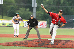 19 June 2015: Hunter Adkins  during a Frontier League Baseball game between the Lake Erie Crushers and the Normal CornBelters at Corn Crib Stadium on the campus of Heartland Community College in Normal Illinois