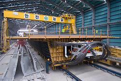 Precasting area for prestressed concrete full-length box girder viaduct approach spans to Incheon Bridge in Seoul South Korea