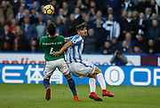 West Bromwich Albion's Hal Robson-Kanu and Huddersfield Town's Christopher Schindler during the Premier League match between Huddersfield Town and West Bromwich Albion at the John Smiths Stadium, Huddersfield, England on 4 November 2017. Photo by Paul Thompson.