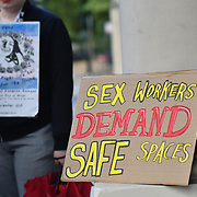 Sex Worker Advocacy and Resistance Movement host an Intl Day of Action in memory of Vanessa Campos protesting violence against trans people, migrants and sex workers in France and globally following the murder of trans sex worker Vanessa Campos at the France embassy, London, UK. 21 September 2018.