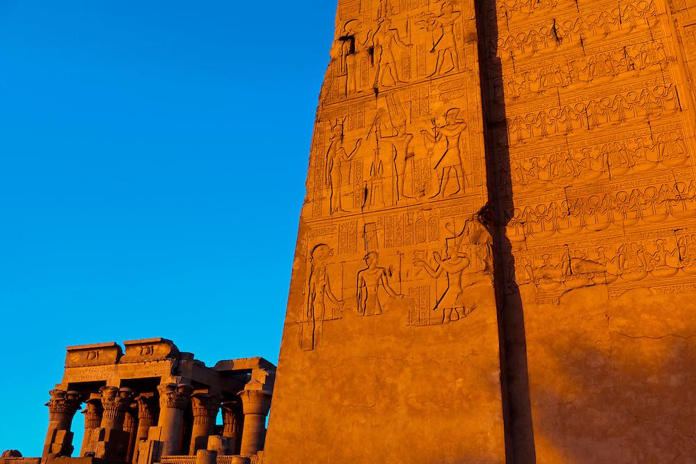 Hieroglyphics, Kom Ombo archaeological site, Nile River, Egypt