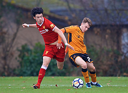 WOLVERHAMPTON, ENGLAND - Tuesday, December 19, 2017: Liverpool's Curtis Jones and Wolverhampton Wanderer's Brad Carr during an Under-18 FA Premier League match between Wolverhampton Wanderers and Liverpool FC at the Sir Jack Hayward Training Ground. (Pic by David Rawcliffe/Propaganda)