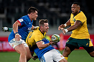 SYDNEY, AUSTRALIA - SEPTEMBER 07: Bernard Foley of the Wallabies passes the ball during the international rugby test match between the Australian Wallabies and Manu Samoa on September 07, 2019 at Bankwest Stadium in Sydney, Australia. (Photo by Speed Media/Icon Sportswire)