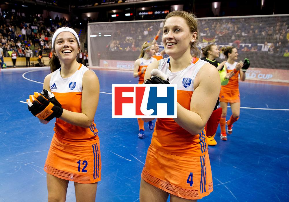BERLIN - Indoor Hockey World Cup<br /> Quarterfinal 4: Netherlands - Czech Republic<br /> foto: Noor de Baat and Lieke van WIjk.<br /> WORLDSPORTPICS COPYRIGHT FRANK UIJLENBROEK