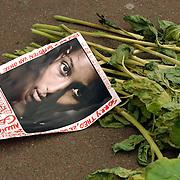 Moord Theo van Gogh Linnaeusstraat Amsterdam, bloemen, poster, Ayaan Hirshi Ali, grond, teksten