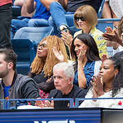2019 US Open Tennis Tournament- Day Thirteen.    Meghan Markle, Duchess of Sussex next to Oracene Price, mother of Serena Williams in the the team box watching Serena Williams of the United States in action against Bianca Andreescu of Canada in the Women's Singles Final on Arthur Ashe Stadium during the 2019 US Open Tennis Tournament at the USTA Billie Jean King National Tennis Center on September 7th, 2019 in Flushing, Queens, New York City.  (Photo by Tim Clayton/Corbis via Getty Images)