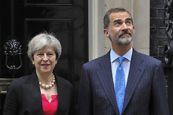 July 13, 2017 - London, England, U.K. - KING FELIPE V1 of Spain, on a State Visit to the UK, arrives at Downing Street for bilateral talks with  British Prime Minister THERESA MAY. (Credit Image: © Stephen Chung/London News Pictures via ZUMA Wire)