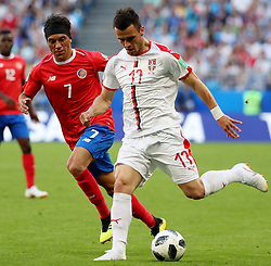 SAMARA, June 17, 2018  Filip Kostic (R) of Serbia vies with Christian Bolanos of Costa Rica during a group E match between Costa Rica and Serbia at the 2018 FIFA World Cup in Samara, Russia, June 17, 2018. (Credit Image: © Ye Pingfan/Xinhua via ZUMA Wire)