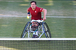 June 22, 2018 - London, United Kingdom - Gordon Reid  (GBR) .during Fever-Tree Championships Wheelchair Doubles Event  match between Alfie Hewett and Gordon Reid  (GBR) against Stephane Houdet and Nicolas Peifer (FRA) at The Queen's Club, London, on 22 June 2018  (Credit Image: © Kieran Galvin/NurPhoto via ZUMA Press)