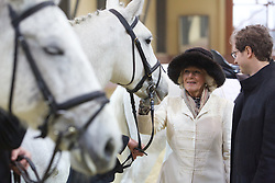 15.03.2016, Djakovo, CRO, der Britische Kronprinz Charles und seine Frau Camilla besuchen Kroatien, im Bild Their Royal Highness The Prince of Wales and Duchess of Cornwall in the two-day visit to Croatia after they together visited Osijek, Duchess of Cornwall Camilla visited the National Stud Farms in Djakovo. She watched the performance of Lipizzaners and traditionally decorated chariot. The host of the Duchess were Nidal Vessels director of the Paddock and Zoran Vinkovic mayor of Djakovo. EXPA Pictures © 2016, PhotoCredit: EXPA/ Pixsell/ Vlado Kos/Cropix/POOL<br /> <br /> *****ATTENTION - for AUT, SLO, SUI, SWE, ITA, FRA only*****