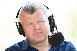 © Licensed to London News Pictures . 11/08/2015 . Merseyside , UK . ADRIAN CHILES presenting a live show from the hospital . BBC Radio 5 Live broadcast live from Clock View mental health Hospital in Merseyside . Photo credit : Joel Goodman/LNP