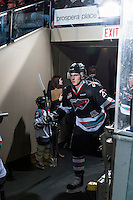 KELOWNA, CANADA - FEBRUARY 16: Cal Foote #25 of Kelowna Rockets enters the ice against the Red Deer Rebels on February 16, 2016 at Prospera Place in Kelowna, British Columbia, Canada.  (Photo by Marissa Baecker/Shoot the Breeze)  *** Local Caption *** Cal Foote;