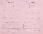 Munster Senior Hurling Championship Programme June 28th 1959.Galway vs Waterford