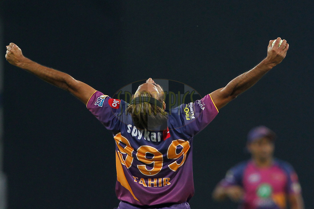 Imran Tahir of Rising Pune Supergiant celebrates the wicket of Akshar Patel of Kings XI Punjab during match 4 of the Vivo 2017 Indian Premier League between the Kings X1 Punjab and the rising Pune Supergiant held at the Holkar Cricket Stadium in Indore, India on the 8th April 2017<br /> <br /> Photo by Deepak Malik - IPL - Sportzpics
