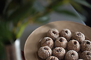 Soft almond cookies with finely ground espresso. These are very subtle in flavor but very addicting. Nice lighting at the moment coming through my dining room window. Chasing light.