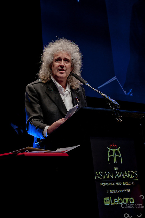 The Founders award presented by Brian May at The Asian Awards 2011 held at the Grosvenor House Hotel, London..The Asian Awards, which have been set up to celebrate the highest achievement from across the international Asian community. Awards are open to individuals born in or with direct family origin from India, Pakistan, Sri Lanka or Bangladesh.  ..The Asian Awards recognise and reward exemplary achievement across 11 categories that include business, philanthropy, entertainment, culture and sport. Nominees were selected by an independent judging panel consisting of key business people, cultural leaders and eminent political figures, chaired by Baroness Verma of Leicester.