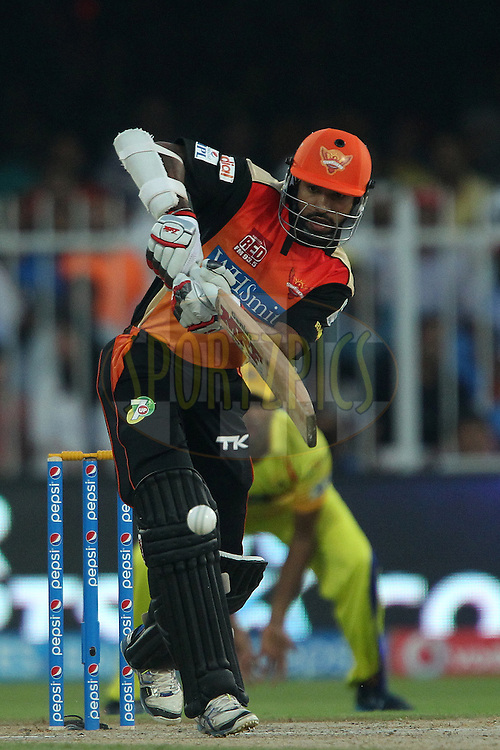 Shikhar Dhawan captain of the Sunrisers Hyderabad during match 17 of the Pepsi Indian Premier League 2014 between the Sunrisers Hyderabad and the Chennai Superkings held at the Sharjah Cricket Stadium, Sharjah, United Arab Emirates on the 27th April 2014<br /> <br /> Photo by Ron Gaunt / IPL / SPORTZPICS