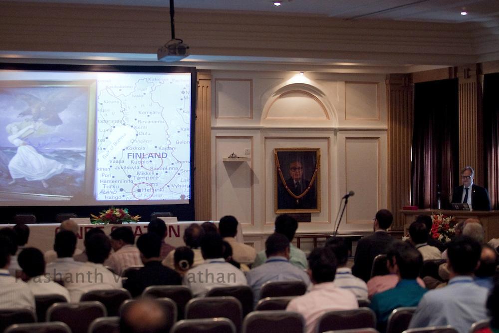 Professor, Juha Hernesniemi speaks about Finland prior to performing three neurosurgeries in front of 170 Indian neurosurgeons at Bombay Hospital in Mumbai, India, on Sunday, April 17, 2011. Photographer: Prashanth Vishwanathan/HELSINGIN SANOMAT