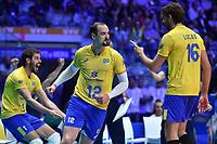 Like, Saatkamp, Isac of Brazil<br /> Torino 29-09-2018 Pala Alpitour <br /> FIVB Volleyball Men's World Championship <br /> Pallavolo Campionati del Mondo Uomini <br /> Semifinal<br /> Brasile - Serbia / Brazil - Serbia<br /> Foto Antonietta Baldassarre / Insidefoto