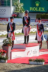 Podium Kür <br /> Gold medal : Dujardin Charlotte (GBR)<br /> Silver medal : Langehanenberg Helen (GER)<br /> Bronze medal : Cornelissen Adelinde (NED)<br /> Blue Hors FEI European Championships Dressage - Herning 2013<br /> © Dirk Caremans